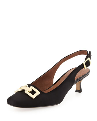 Selba Chain-Buckle Slingback Pump, Black