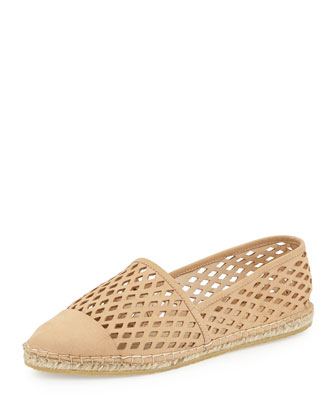Mara Perforated Nubuck Espadrille Flat, Shell