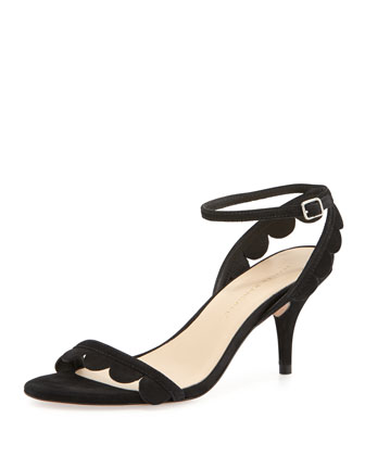 Lillit Scalloped Kitten-Heel Sandal, Black
