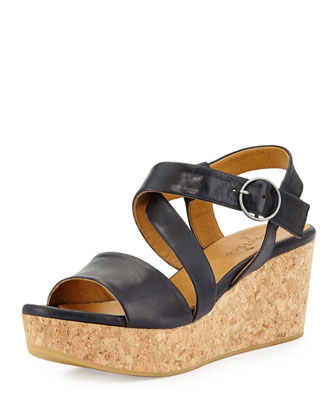 Mel Strappy Cork Wedge Sandal, Navy