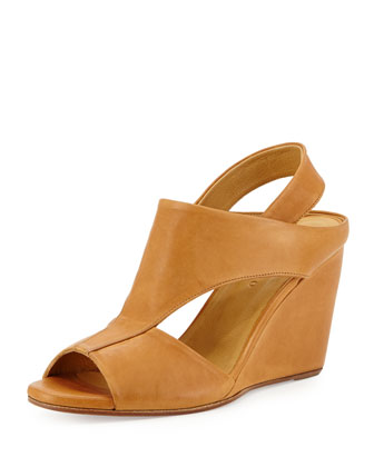 Jaquen Leather Slingback Wedge, Tan