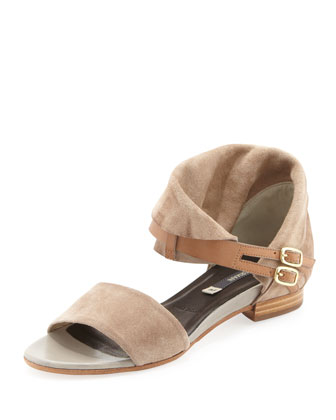 Renazzo Suede Fold-Over Sandal, Bone