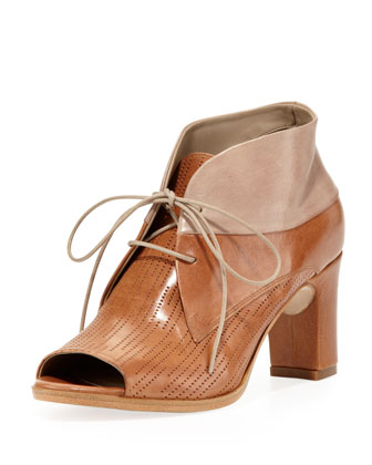 Lusiana Lace-Up Leather Bootie, Cuoio