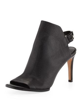 Aden Peep-Toe Leather Bootie, Black