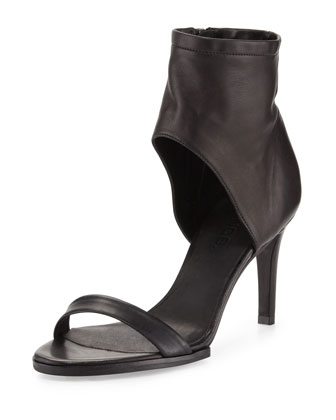 Annalie Leather Ankle-Cuff Sandal, Black