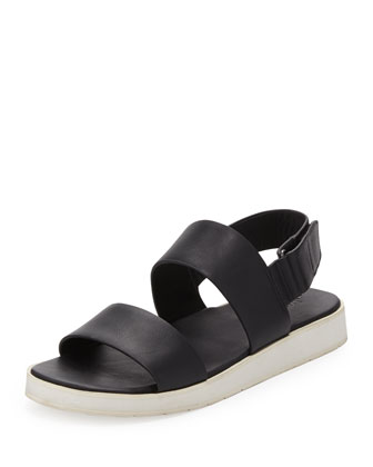 Brennen Double-Strap Leather Sandal, Black