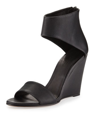 Kelan Ankle-Cuff Wedge Sandal, Black