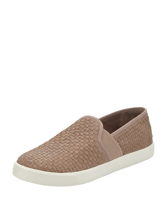 Preston Woven Leather Slip-On, Taupe