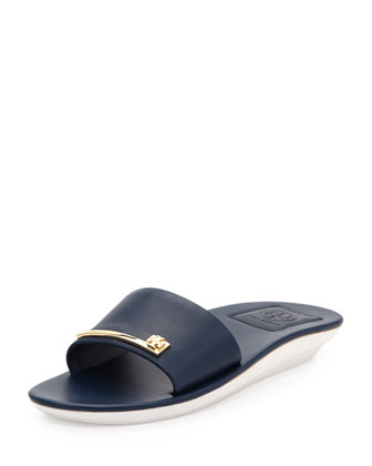 Saleene Flat Leather Slide, Newport Navy