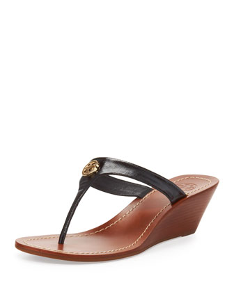 Cameron Patent Thong Wedge Sandal, Black
