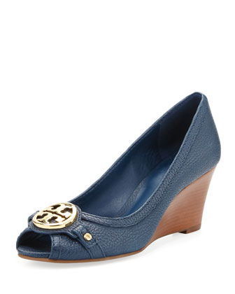 Leticia Peep-Toe Mid Wedge, Newport Navy