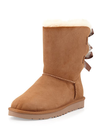 Bailey Bow-Back Short Boot, Chestnut