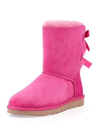 Bailey Bow-Back Short Boot, Princess Pink