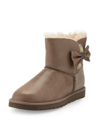 Mini Bailey Bow Crystal Shearling Fur Boot, Gray
