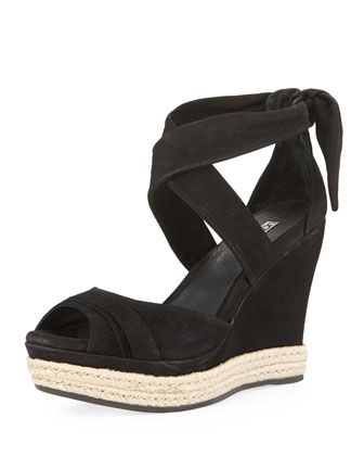 Lucy Nubuck Wedge Sandal, Black