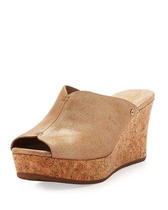Dominique Shimmery Cork Wedge Slide