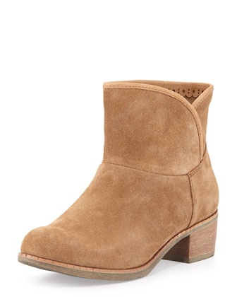 Darling Fur-Footbed Suede Ankle Boot, Chestnut