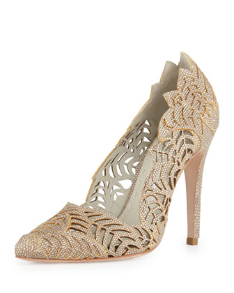 Dina Lizard-Print Cutout Pump, Natural