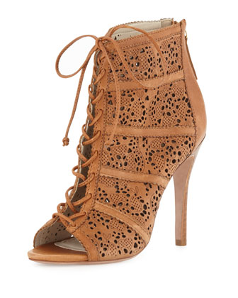 Gale Leather Lace-Up Bootie, Caramel