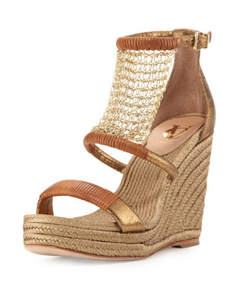 Dellah Chain-Mesh Wedge Sandal