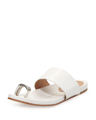 Capria Toe-Ring Footbed Sandal, Bianco