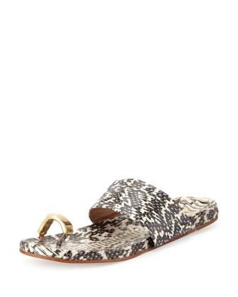 Capria Snake Toe-Ring Sandal, Snake