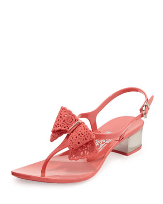 Perala Lace-Bow Jelly Sandal