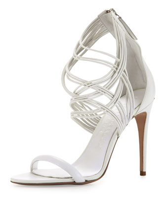 Strappy Leather High-Heel Sandal, White