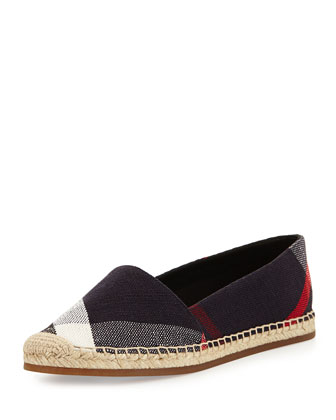 Check Canvas Flat Espadrille, Navy Check
