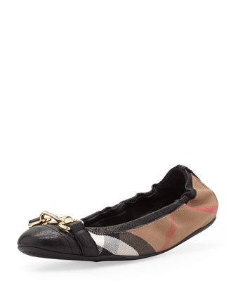 Scrunch Check Ballerina Flat, Black