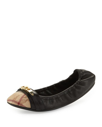 Cap-Toe Scrunch Ballerina Flat, Black