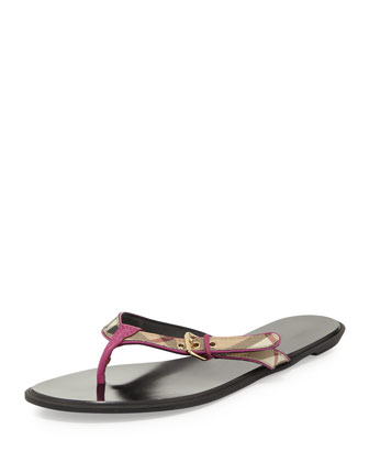 Check Leather Flip-Flop, Bright Viola