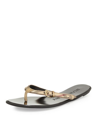 Check Leather Flip-Flop, Pale Gold