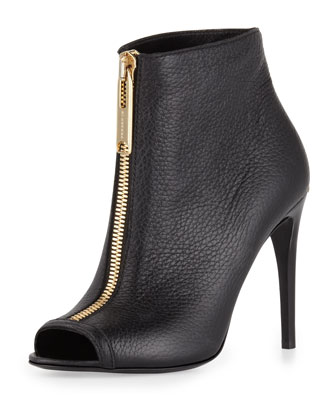 Zip-Front Peep-Toe Leather Bootie, Black