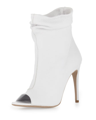 Ruched Peep-Toe Ankle Boot, Off White