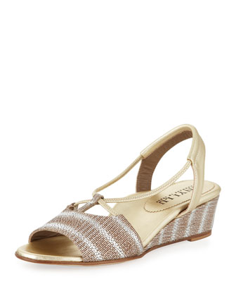 Leah Lizard-Print Demi-Wedge Sandal