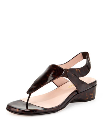 Kiara Patent Thong Sandal, Tortoise