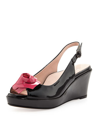 Star Patent Flower Slingback Wedge, Black/Dusty Rose