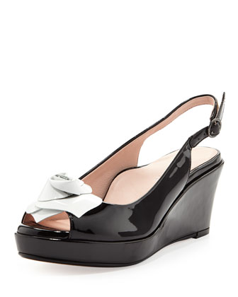 Star Patent Flower Slingback Wedge, Black/White