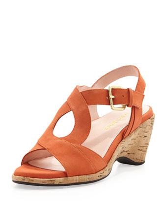 Marianna Suede Wedge Sandal, Orange