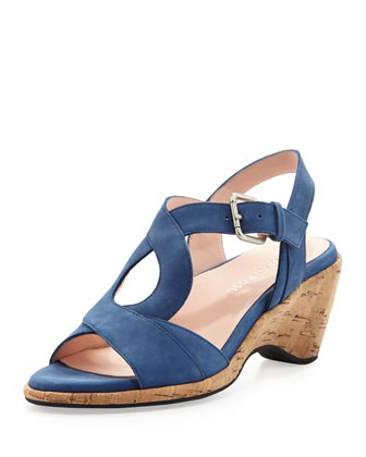 Marianna Suede Wedge Sandal, Delft Blue