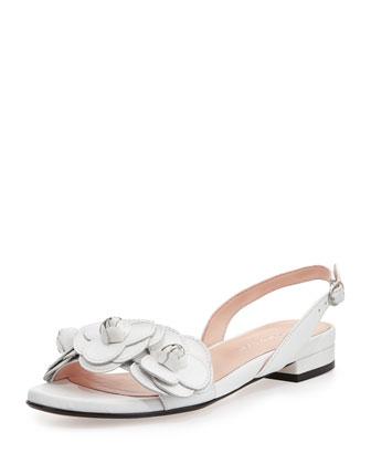 Ida Flower Slingback Sandal, White