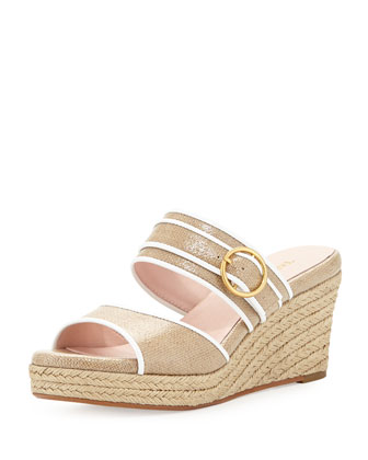 Kati Wedge Slide Sandal, Beige/White