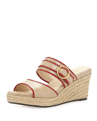 Kati Wedge Slide Sandal, Beige/Red