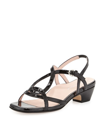 Odele Strappy Patent Sandal, Black