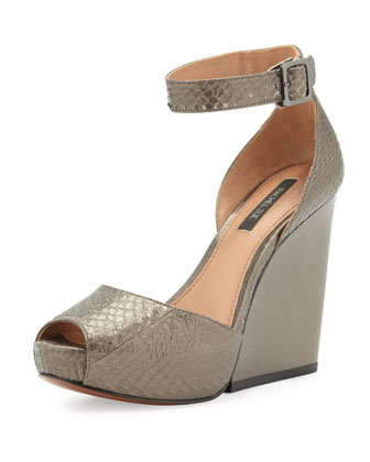 Charlene Snakeskin Ankle-Wrap Wedge, Charcoal