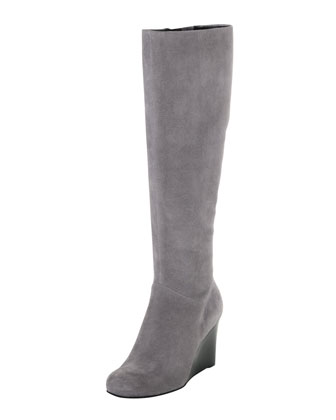 Cora Suede Wedge Boot, Iron Stone