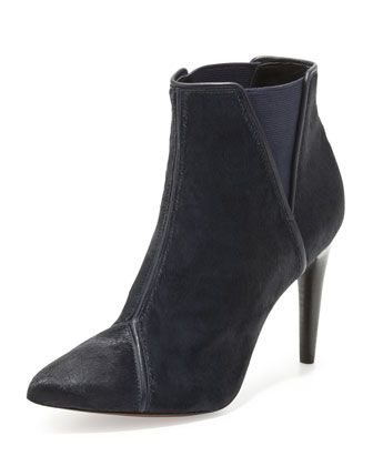 Fabian Calf Hair Bootie, Navy