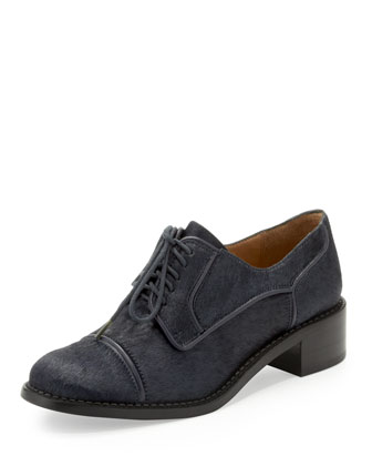 Gretta Calf Hair Oxford, Ink (Navy)