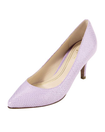 Chelsea Snake-Print Patent Low-Heel Pump, Larkspur Purple